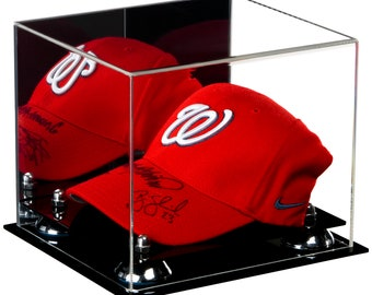 7d606297b4a Deluxe Acrylic Baseball Cap Display Case with Risers and Mirror (A006)