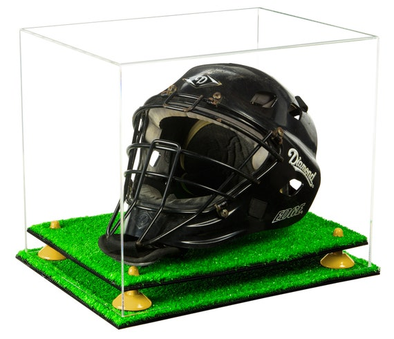 Deluxe Acrylic Catchers Helmet Display Case with Risers A002-TB Mirror and Turf Base