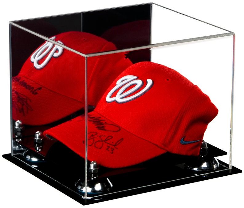 Baseball Cap Display Case Black Acrylic Base Gold Risers