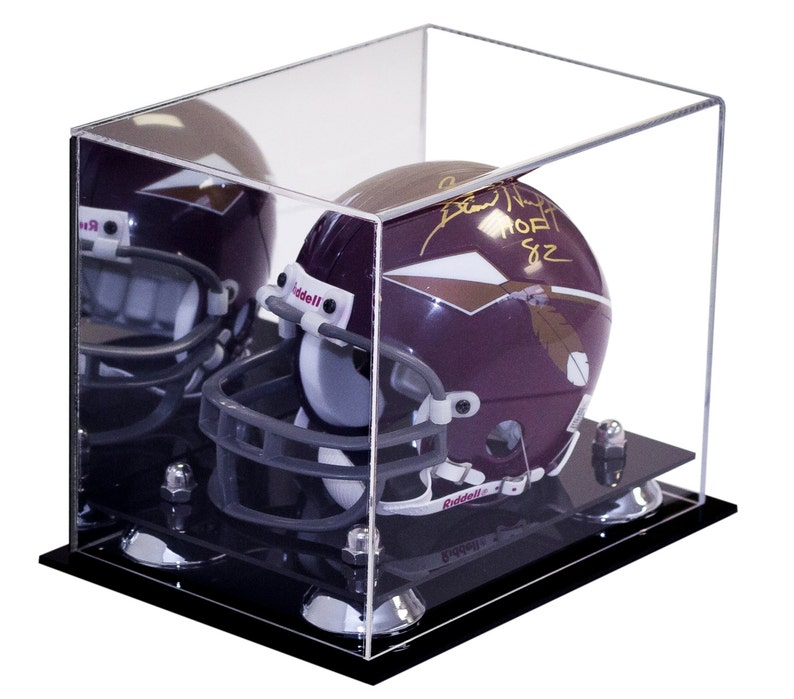 af2f7ed8 Mini Football Helmet Display Case (not full size) - Better Display Cases -  Clear Acrylic Plexiglass with Mirror and Risers (A003)