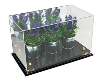 "Versatile Handmade Acrylic Display Case with Mirror  -  14"" x 8"" x 8.5""  -  (A011)"