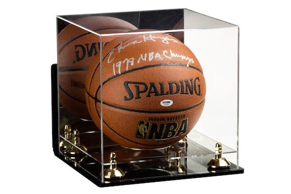 Basketball Displays Acrylic Deluxe Display Case with Black Base Basketball