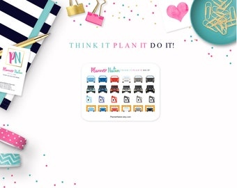 Car Planner Stickers - Mini Personal Planner Stickers - Choice of Colors for Erin Condren, Happy Planner, Filofax, KikkiK and more!