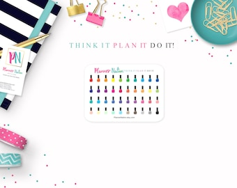 Nail Polish Planner Stickers- Mini Personal Planner Stickers for Erin Condren, Happy Planner, Filofax, KikkiK and more!