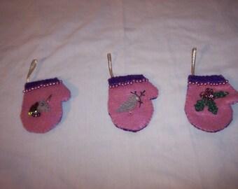 3 Christmas Mitten Felt Ornaments