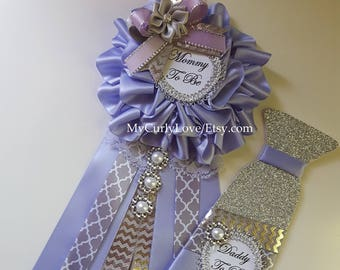 Lavender and Silver Gray Baby Shower Mommy to be Corsage/Lavender and Silver Gray Mommy to be Pin/Lavender and Gray Baby Shower Corsage
