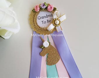 Unicorn Baby Shower Corsage/Unicorn Grandma To Be Pin/Unicorn Mommy To Be Pin/Unicorn Long Ribbon Pin/Unicorn Auntie To Be Pin/Girl Pin