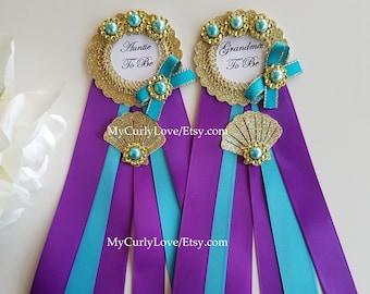Mermaid Pin/Grandma to be Mermaid Pin/Purple and Turquoise Mermaid Small Pin/Auntie Mermaid Pin/Mermaid Shower Corsage