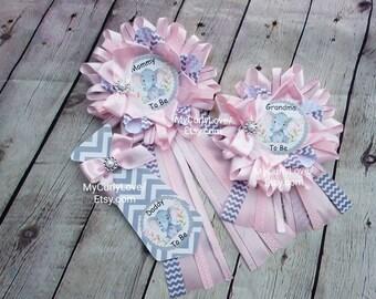 Baby Shower Personalised//Custom Rosette Badge Pink//Blue//Yellow//White Mum//Nana