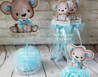 16 Pk Baby Shower Favours Blue Teddy Bear Table Charms