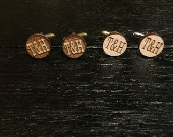 Custom Engraved Initial Cufflinks - Wedding cufflinks, groomsmen gift, groomsmen cuff links, suit up!