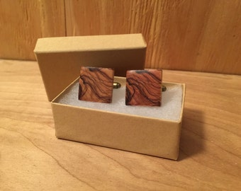 Bethlehem Olive Wood Cufflinks - Wedding Gift, Groomsmen Gift, nothing suits me like a suit!