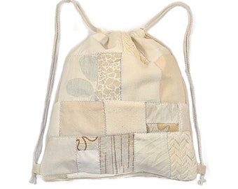 Off-white Drawstring Backpack, Patchwork Drawstring Bag, Boho Cinch Bag, Scrap Fabric Drawstring Knapsack