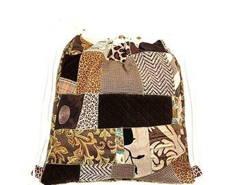 Brown Drawstring Backpack, Patchwork Drawstring Bag, Boho Cinch Bag, Scrap Fabric Drawstring Knapsack