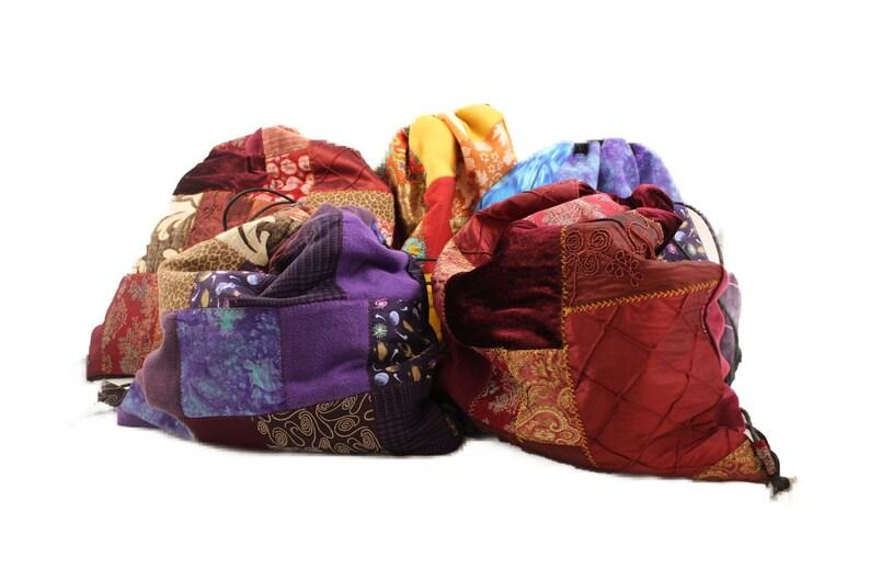 Patchwork Drawstring Bag Boho Cinch Bag Scrap Fabric Drawstring Knapsack Brown Drawstring Backpack