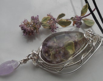 Real Flower Wire Wrapped Resin Pendant Necklace
