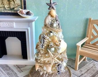 Miniature Christmas tree, dollhouse trimmed tree, sea shell beach tree