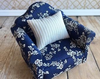 Miniature dollhouse furniture, floral dollhouse chair, miniature blue chair