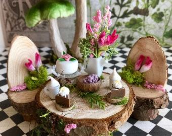 miniature fairy table, dollhouse food and dishes, fairy dollhouse furniture