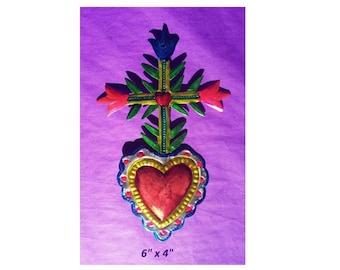 "Heart Cross /& Flowers Mexican Handmade Painted Tin Milagro Art 6/""x4/"""