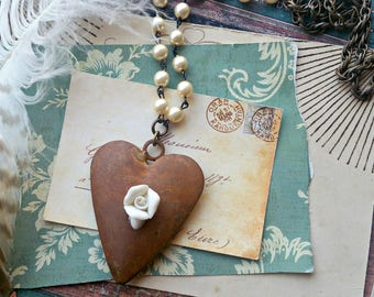 rustic heart necklace with vintage pearls, porcelain rose, shabby chic, mori girl, primitive, recycled, repurposed, fab flea market