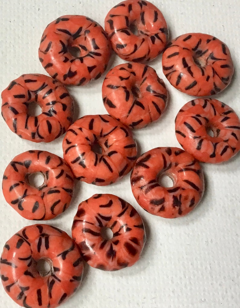 Fair Trade from Ghana Pack of 11 Beads Size 15mm approx Red Recycled Glass Disc Spacer Beads with Black Design
