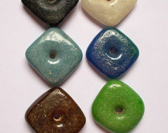 Recycled Glass Square Beads - Size 3cm approx Pack of 2 - Fair Trade from Mzuribeads Uganda Africa