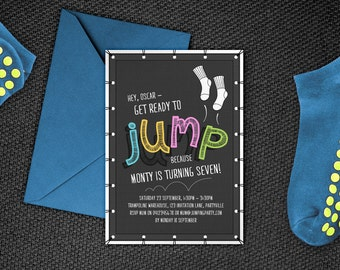 Trampoline Invitation, Printable Jump Party Invite, Bounce Party, Flip Out Party Invitation - Edit & print as many copies as you like!