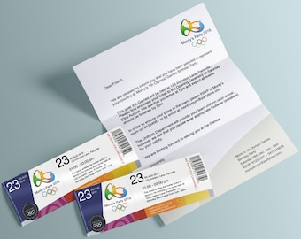 Olympic Games Invitation (Ticket and Letter) - Editable and Printable PDF