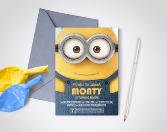 Minion Party Invite - Edit and Print as many copies as you like / Despicable Me / Minions / DIY party invite