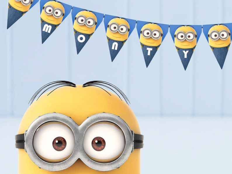 photo regarding Minion Logo Printable called Minion bunting - printable, edit and print as numerous copies as by yourself which includes / Minion topic celebration / Minion flags / Customisable bunting