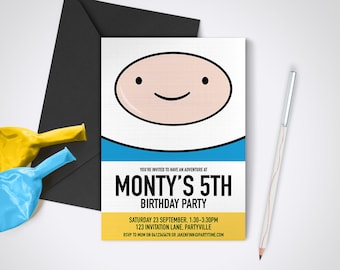 Adventure Time, Finn printable party invite - Edit and print as many copies as you like / DIY Adventure Time Printable Party Invitations
