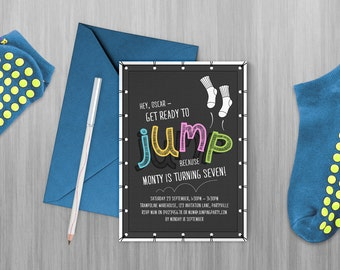 Jump Printable Invitation, Trampoline Party, Bounce Party, Flip Out Party Invitation - Edit & print as many copies as you like!