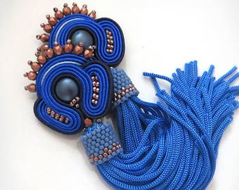 Blue earrings Blue boho soutache earrings Seed bead earrings Blue bohemian earrings Blue tassel earrings Blue dangle earrings gioielli
