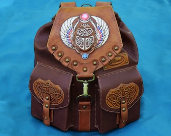 """Backpack """"SCARAB"""", leather backpack, leather gift, embossed leather, leather stamping, fathers day gift, scarab, Celtic, brown backpack"""