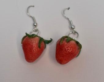 Handmade Clay Strawberry Stud Earrings Cottagecore Fairycore Cute Earrings