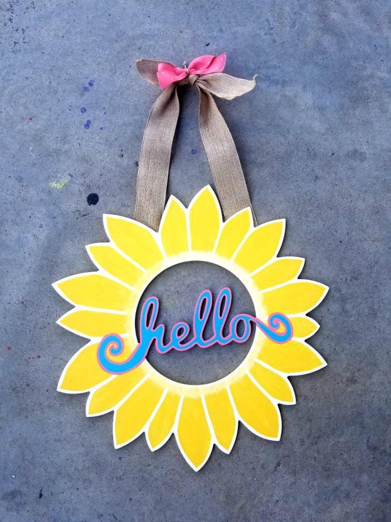 Hello Sunflower Door Hanger