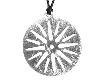 Sun of Vergina Greek Pendant, Unisex Pendant, Solid Sterling Silver Handmade Pendant, Greek Talisman Round Necklace,