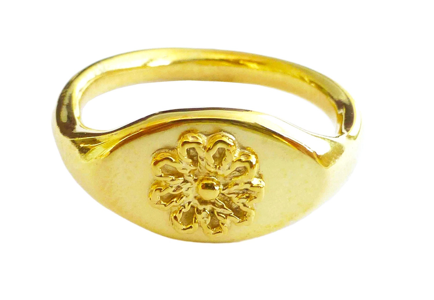 Signet Ring 18k Solid Gold Pinky Ring Elegant Yellow Gold