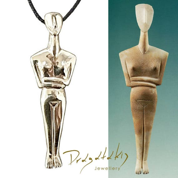 Ancient Greek Cycladic Art Necklace Aegean Art Greek Jewelry Elegant Abstract Statue Handcarved Cycladic Period Symbol Female Sculpture