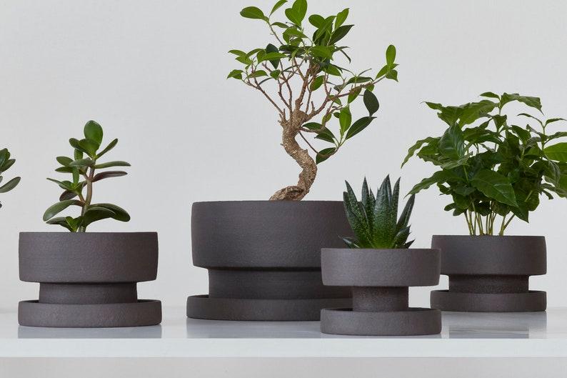 ceramic planter ceramic flower pot planter wabi sabi plant pot minimal indoor planter handmade pottery planter with saucer
