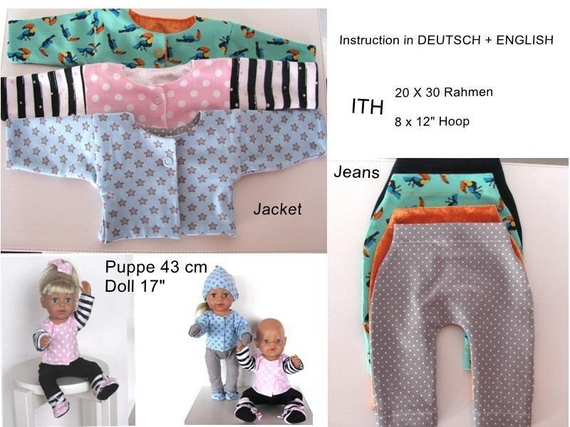 ITH-Stickdatei Jacke Jeans für Puppe 43 cm Rahmen 20 x 30 cm