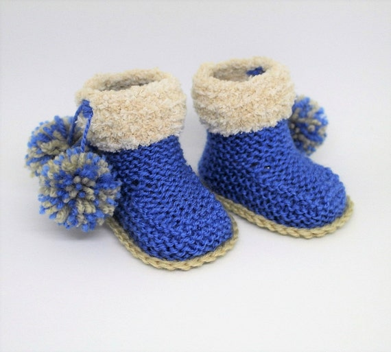 Baby Boy Booties Knitting Pattern Pdf Download Pompom Etsy