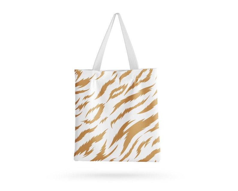 Reusable Made in EU Eco-Friendly Yellow Tiger Design Tote Bag Handmade Shopping Bag With Print