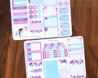 SEAGLASS PLANNER GIRL  | 2 Page Decorative Planner Sticker Kit | Any Planner Type | LucKaty