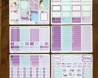SEAGLASS PLANNER Girl: EC 6 Sheet Planner Stickers Set | suitable for Erin Condren Life Planners | LucKaty