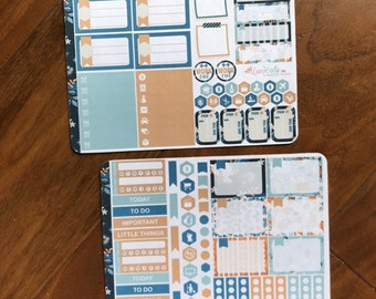 COOL LAGOON  | 2 Page Functional Planner Sticker Kit | Any Planner Type | LucKaty