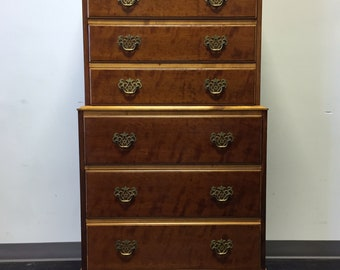 KINDEL Grand Rapids Fruitwood Chippendale Chest On Chest