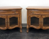 THOMASVILLE Camile Oak French Country Style Nightstands Bedside Chests - Pair