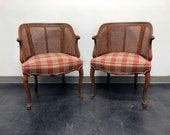 French Country Style Caned Barrel Chairs - Pair
